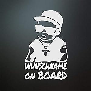 Baby on Board personalisiert – Wunschname/Farbe/Schriftart – für Auto/Tuning/JDM/Motorrad – Oil-Slick