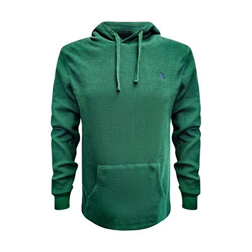 POLO RALPH LAUREN Mens Waffle Hooded T-Shirt Long Sleeve (L, Green)