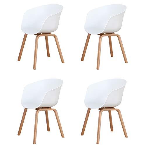 BenyLed Pack de 4 Sillas Comedor Nórdicas con Reposabrazos Diseño Moderno Salón Cocina, Silla Oficina con Patas de Madera (Blanco)