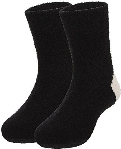 Y-BOA Lot 2 Paires Chaussette Longue Souple Épais Chaude Chausson Unie Antidérapante Bébé Fille Garçon Noir 2-4ans