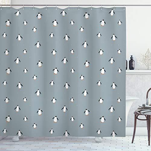 ABAKUHAUS Pinguin Duschvorhang, Minimal arktische Fauna Vogel, Wasser Blickdicht inkl.12 Ringe Langhaltig Bakterie & Schimmel Resistent, 175 x 200 cm, Dunkelgrau Blau