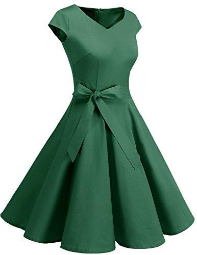 Dresstells Dresstells Damen Vintage 50er Cap Sleeves Rockabilly Swing Kleider Retro Hepburn Stil Cocktailkleid Green 2XL