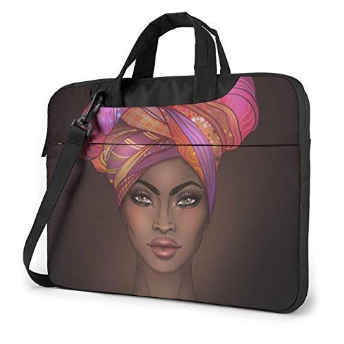 Laptop Shoulder Bag,African American Woman Shockproof Laptop Sleeve Cover Business Messenger Bag Briefcase Handbag Case 15.6 inch