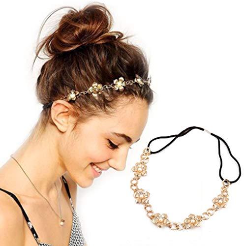 Awanka Boho-Blumenkopfkette mit Perlen, elastisches Haarband, Hochzeits-Kopfschmuck, Schmuck für Frauen und Mädchen (Gold)