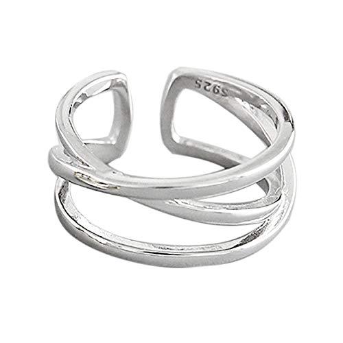 Lotus Fun S925 Sterling Silber Ring Einfaches X-förmiges Kreuz Doppelschicht Englisch Ringe öffnen Ringe Natürlicher Kreativ Beliebt Handgemachter Einzigartiger Schmuck für Frauen und Mädchen (Silver)