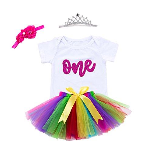 Baby Girls 1st Birthday Bling One Romper Tutu Skirt Flower Crown Headband (Rainbow, 9-12Months)