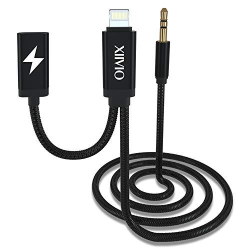 XIIVIO AUX und Ladekabel kompatibel mit Phone XS/XS Max, AUX Kabel mit Ladeadapter und Audio Kopfhörerbuchse kompatibel für Phone XS/XS Max/X / 8/7 / iPad zu Autoradio/Home Speaker