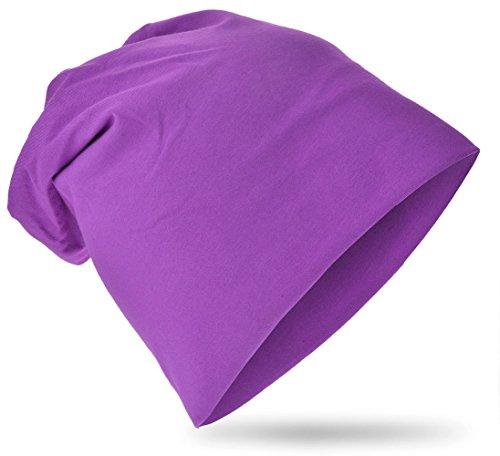 easy4fashion Kinder Baby Jersey Slouch Beanie Long Mütze Unisex Unifarbe Baumwolle Trend (Lila)