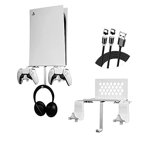 Soporte de Pared para PS5 Consola, Soporte para Controlador extraíble y Soporte para Auriculares, Accesorios Compatible con Consola PS5 con Tornillos y Abertura de Ventilación, Ahorra Espacio, Blanco