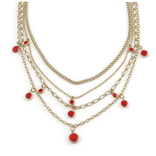 Avalaya - Collar con Cadena y Colgante de Abalorios Rojos, Tono Dorado, 52 cm de Largo