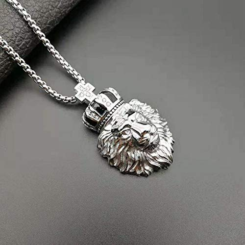 Hip Hop Ice Out Rhinestone Gold Color Stainless Steel Pope Cross Crown Male Lion Pendants Necklace for Men Rapper Jewelry