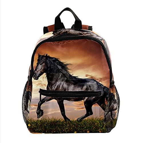 Kinderrucksack Grundschule Schultasche Persönlichkeit Schultasche Mädchen Junge Cartoon Schultasche Grundschüler Schwarzes laufendes Pferd