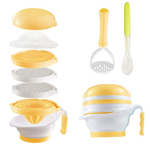 Matyz V7F Versatile Baby Food Maker Set - Toddler Food Mills with Mash Bowl, Hand Masher, Citrus Juicer, Grater - Making Homemade Baby Food - Fruits and Vegetables Masher - BPA Free (Yellow)
