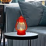 JIUYECAO Farol LED vintage huracán antiguo colgante linternas para uso en interiores y exteriores realista parpadeo llama funciona con pilas