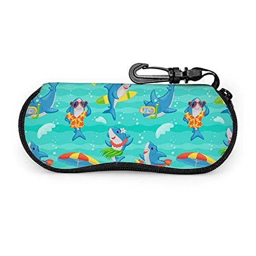 Gafas de sol con cremallera suave funda para gafas con clip para cinturón divertido lindo tiburón dibujos animados playa portátil Gses bolsa