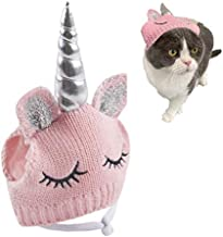 Lanyarco Cute Unicorn Hat Accessory Halloween Costume for Small Dogs & Cat Kitten, Cat Costume Pink