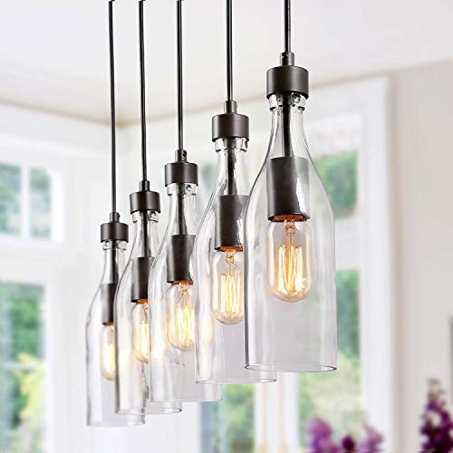 LNC A02982 Wood Kitchen Island Lighting Farmhouse Linear Chandeliers with Glass Bottle Shade