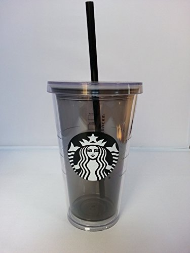Starbucks Kaltbecher, mit Deckel und Strohhalm, Kunststoff, Grau