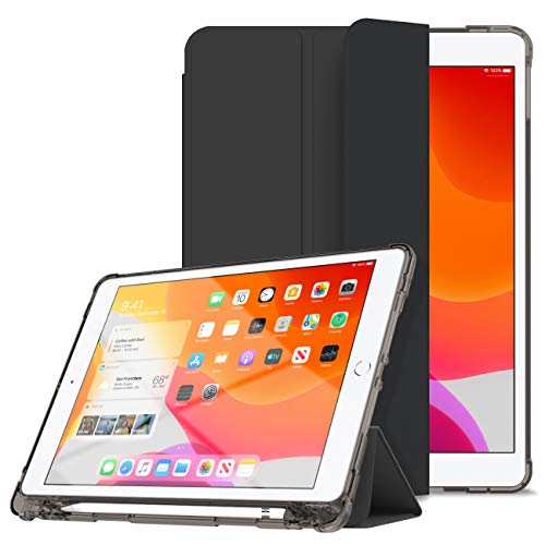 iPad 第7世代 ケース 10.2インチ ペンシル収納可能 三つ折スタンド オートスリープ 超スリム 全面保護 耐衝撃 PC+TPU二重構造 キズ防止 指紋防止 iPad第7世代2019専用 (ブラック)