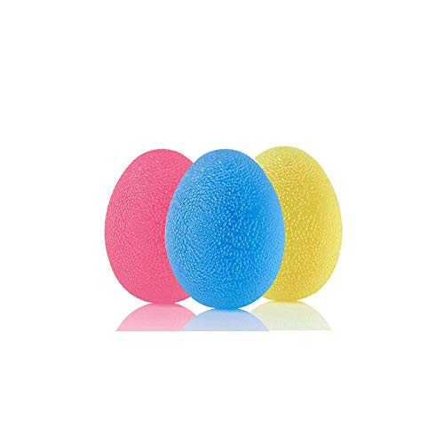 Premium Set of 3 Stress Relieving Squeeze Balls with Travel Bag | Hand Exercise Grip Ball | Heavy Duty | Safe to Use | Stress Relieving | Medical Stress Ball | Adult Silicone Hand Exerciser | (Egg)