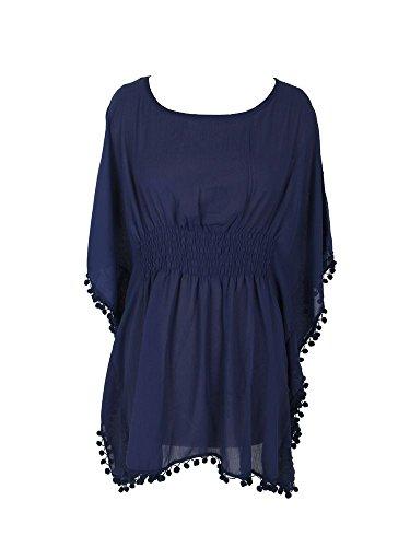 Damen Strandkleid Poncho mit Bommeln Blau Chiffon Kimono Tunika Größe M/L