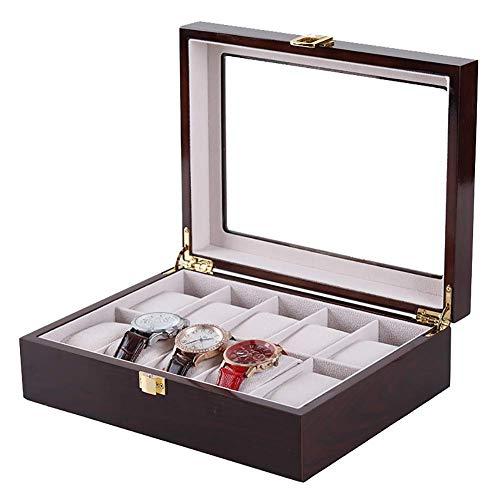 Vitrina de Reloj Vintage, Soporte de Almacenamiento de exhibición de Caja de Reloj Premium con Almohada extraíble y Tapa de Cristal, Organizador de Caja de joyería para niñas marrón 12x4x3 p