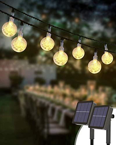 Guirnaldas Luces Exterior Solar [2 Pack], Kolpop 6M Total de 60 LED Cadena de Bola Cristal Luz, Guirnalda Solar LED Bola de Cristal Luces Decoracion para Terraza Hogar Jardín Arboles Patio Bodas