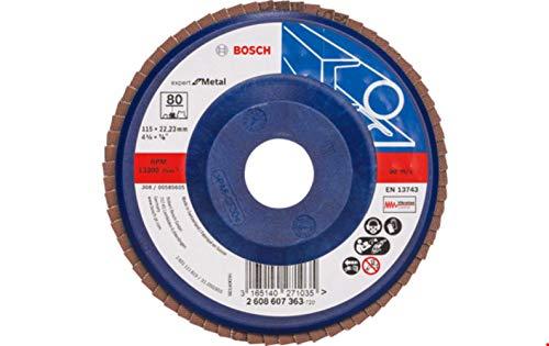 Bosch Professional Fächerschleifscheibe (für Winkelschleifer verschiedene Materialien, Ø 115 mm, Körnung 80)