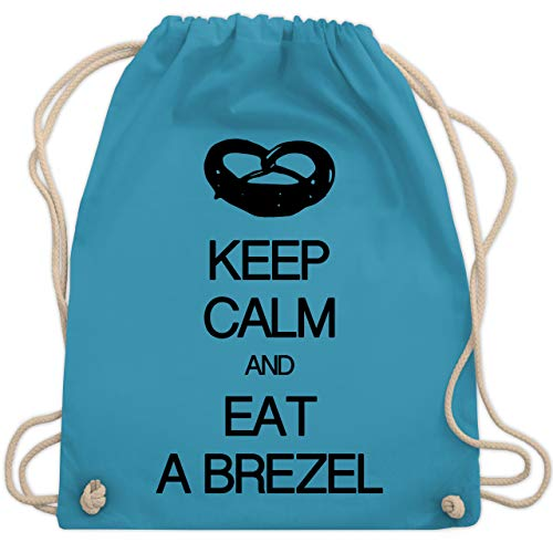 Shirtracer Keep calm - Keep calm and eat a brezel - Unisize - Hellblau - brezel rucksack - WM110 - Turnbeutel und Stoffbeutel aus Baumwolle
