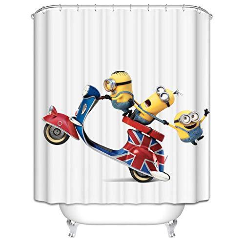 None brand Gelbe DuschvorhäNge Mischievous Minions Series DuschvorhäNge Badvorhang Polyester Wasserdichter Badvorhang Grinch-B180xh200cm