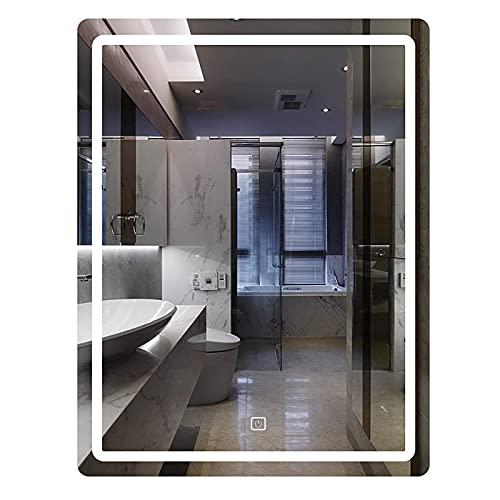 WDCC Espejo de baño Espejo de Pared LED Iluminado con Interruptor táctil 3 Colores claros y Brillo Ajustable Espejo de Maquillaje sin Marco con retroiluminación LED Ip65