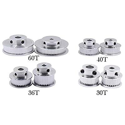 GT2 Timing Belt Pulley 30/36/40/48/60 Teeth Bore for 5/6.35/8/10/12mm Bore Width 3D Printer Belt CNC Laser Cutter (30T-Bore 5mm-Belt 6mm)