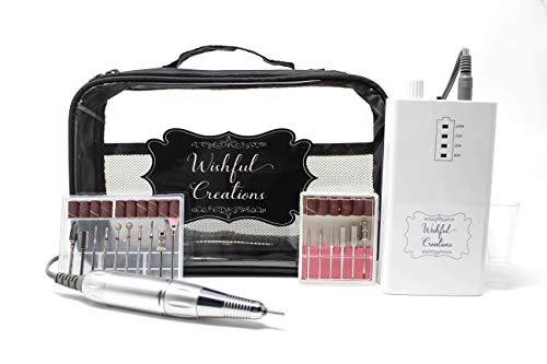 Wishful Creations Professional Nail Drill Machine Kit WHITE | 30000 RPM Rechargeable Portable E File for Acrylic Nails | Premium Drill Bits & Travel Case