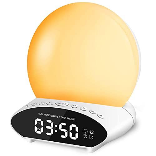 Wake Up Licht Wecker, Lichtwecker Sonnenaufgang Sonnenuntergang Simulation ,20 Helligkeit, 10 natürlichen Klängen,7 Farben Nachtlicht und FM Radio