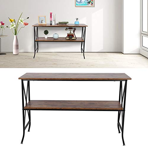 Zerone Console Table, 2‑Tier Industrial Rustic Entryway Table Sofa Table Narrow Entry Table Console Table Side Sofa Corner Desk Bedside Reading Coffee Table with Storage Shelf, 45.3 x 15.7 x 29.1in