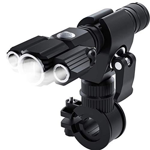 Luzes de bicicleta superbrilhantes LIOOBO T6 L2LED, lanterna impermeável com cabo USB, bateria, clipe e luz traseira (preta)