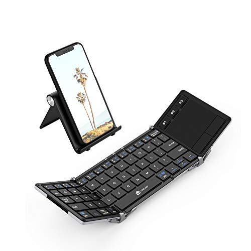 Folding Keyboard, iClever BK08 Bluetooth Keyboard with Sensitive Touchpad (Sync Up to 3 Devices), Pocket-Sized Tri-Folded Fodable Keyboard for iPad Mac iPhone Android Windows iOS, Silver