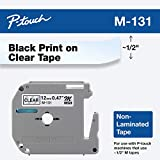 Brother Genuine P-Touch M-131 Tape, 1/2' (0.47') Standard P-touch Tape, Black on Clear, for Indoor Use, Water Resistant, 26.2 Feet (8M), Single-Pack