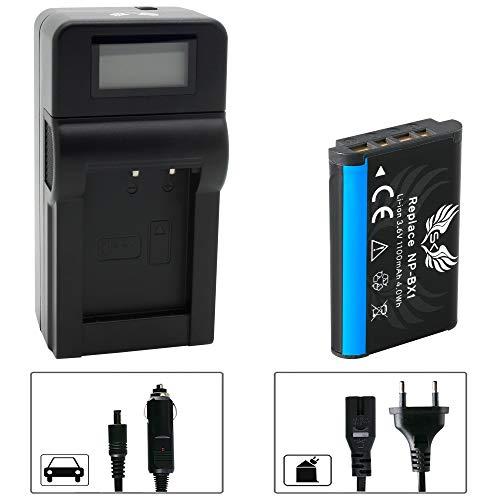 SK Akku Sony NP-BX1 1100mAh + Speed Charger Ladegerät für Sony Cyber-Shot DSC H400 RX100 HX50 HX60V HX90V HX300 HX400V DSC-WX500 WX350 WX500 NP BX1