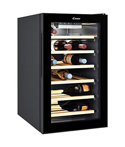 CANDY Divino Cantinetta per Vino Cwc 021 Elsp/N 73 Litri, 21 Bottiglie, Conservazione da 7 A 18 °C, Interfaccia Elettronica, 6 Ripiani in Legno, 39 D(B)A, Maniglie Integrate, Colore Nero