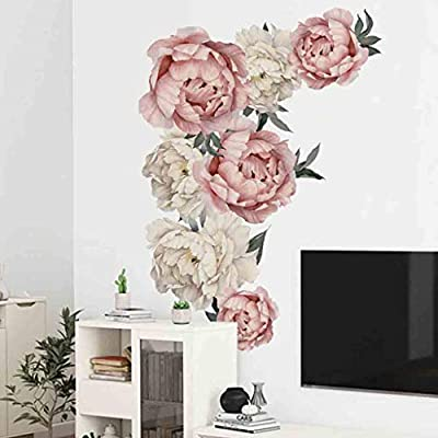 ? Dergo ? Peony Rose Flowers Wall Sticker Art Nursery Decals Kids Room Home Decor Gift