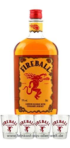 Fireball Likör Blended With Cinnamon & Whisky (0.7 l) + 4 Gläser