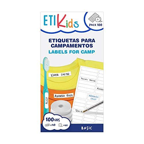 Pakket basic-pakket: 60 witte etiketten om op te strijken, met 40 witte stickers voor kleding en alle soorten voorwerpen.