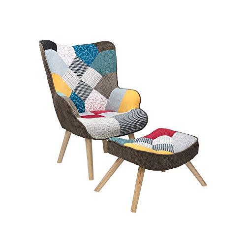 Totò Piccinni Poltrona con Sgabello Design Patchwork Multicolore Gambe in Legno di Faggio (Patchwork)