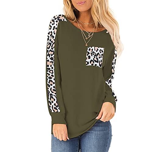 Camiseta De Manga Larga con Estampado De Leopardo Y Cuello Redondo Suelto Informal para Mujer De Primavera Y Verano para Mujer
