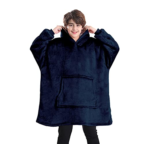 Lushforest Decke Hoodie für Kinder, Oversized Kapuzendecke, Super Weicher Fleece Morgenmantel, Warme Bequeme Kapuzen Robe, Double Layer Blanket Sweatshirt für Teen Girls Boys, Hood&Kangaroo Pocket
