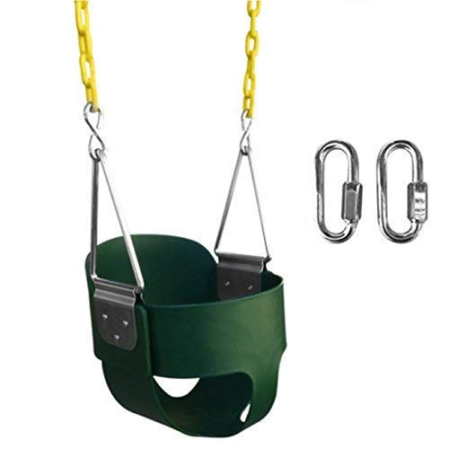 SAFARI SWINGS High Back Full Bucket Kids Swing Seat (USA MADE, Includes 67' of Coated Chain, 2 Quick Links) Green Outdoor Baby, Children & Toddler Swing Set Accessories For The Playground, Backyard