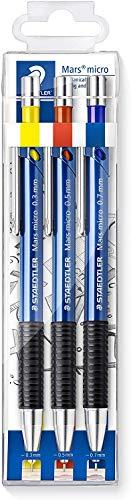 Staedtler Mars micro 775 SC WP3 Druckbleistift, rutschfeste Gummigriffzone, Set mit 3 Linienbreiten 0.3, 0.5, 0.7, blau, nachfüllbar, taschensicher, bruchgeschützt, hohe Qualität