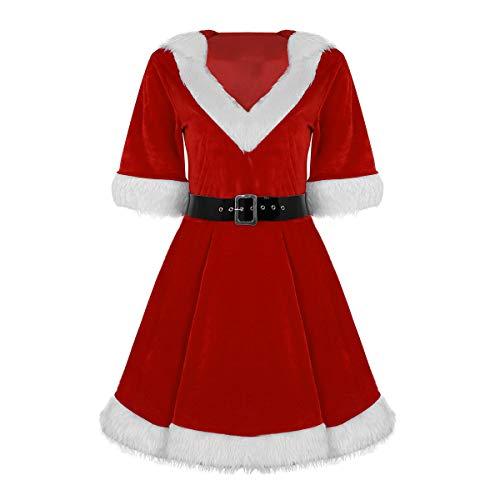 dPois Femme Robe À Capuche Noël Velours Tutu Robe Noël Rouge
