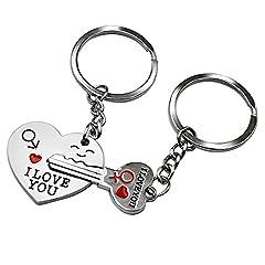 Idea Regalo - Ducomi® I love you - Coppia di Portachiavi Complementari Amore - 1 Portachiave Cuore + 1 Portachiave Chiave - Regalo San Valentino per Fidanzati e Innamorati